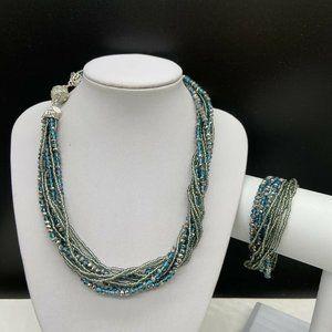Premier Designs Teal Beaded Seaside Necklace Set